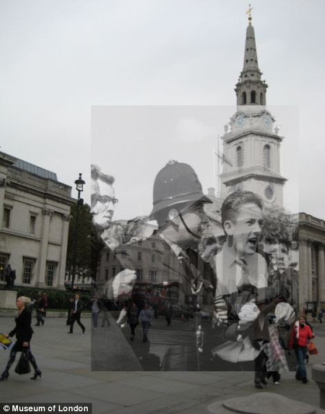Trafalgar Square 1962 and 2010 as seen on the Streetmuseum app