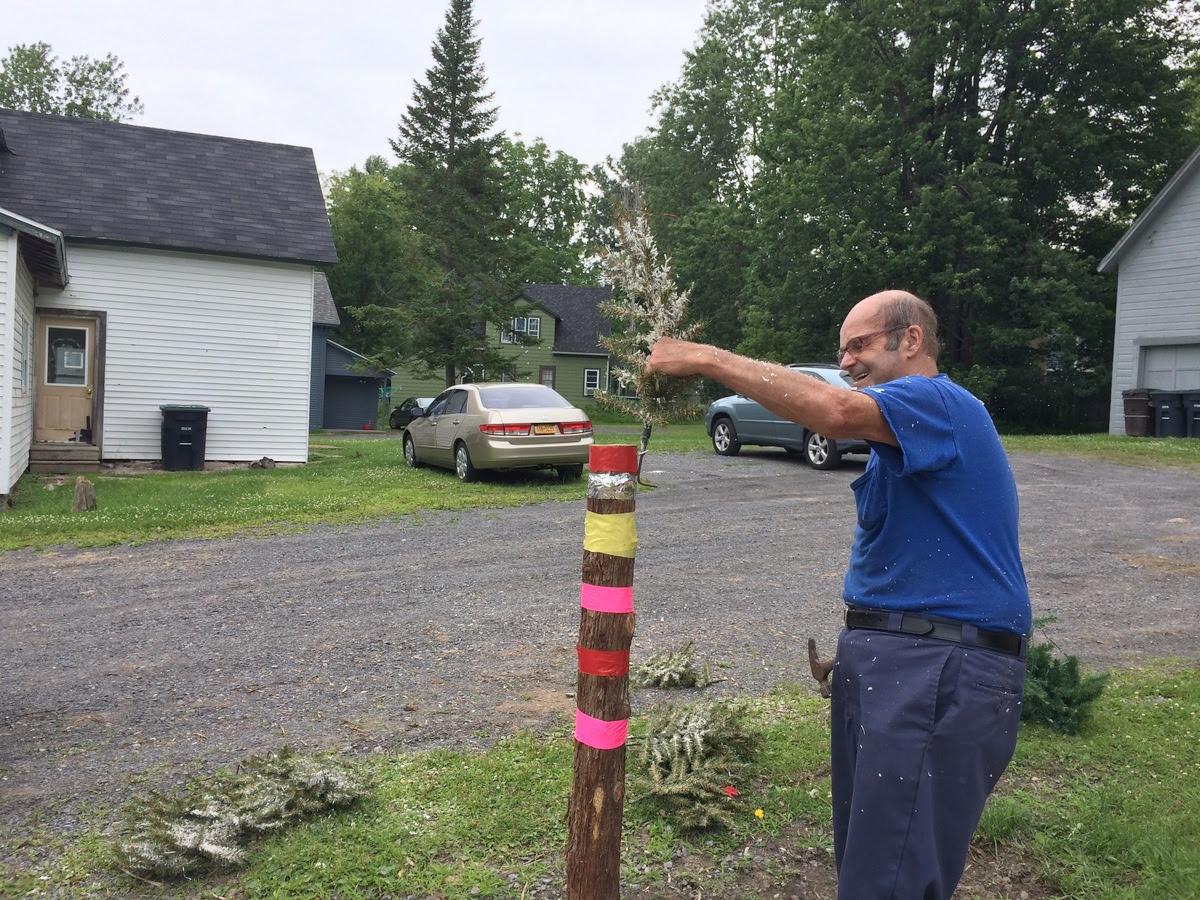 Hank Robar working on his latest installation.