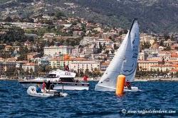 J/70 sailing off San Remo, Italy