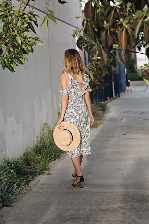 Le Fashion Blog Floral Print Ruffled Dress Hat Black Block Heels Via Take Aim