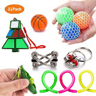 Fidget Toys - 11Pcs Autism Sensory Toys Bundle - Stress Relief for Kids and Adults, Pack Squeeze Balls,Soybean Squeeze, Flippy Chain, Stretchy Strings