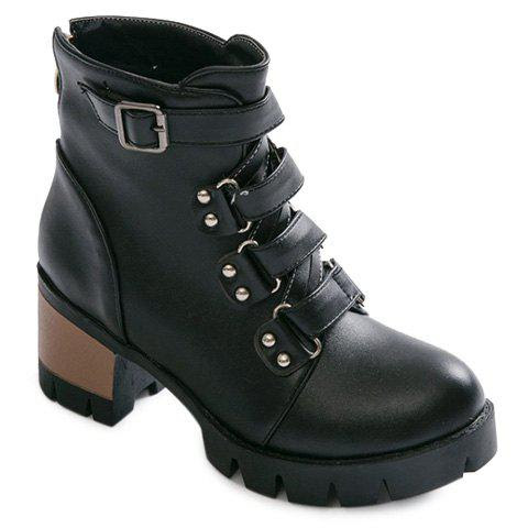 Black Belt Buckle Cross Straps Short Boots | RoseGal.com