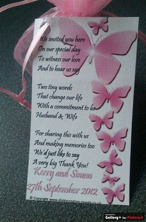 wedding Favor tags with thank you poem and pink