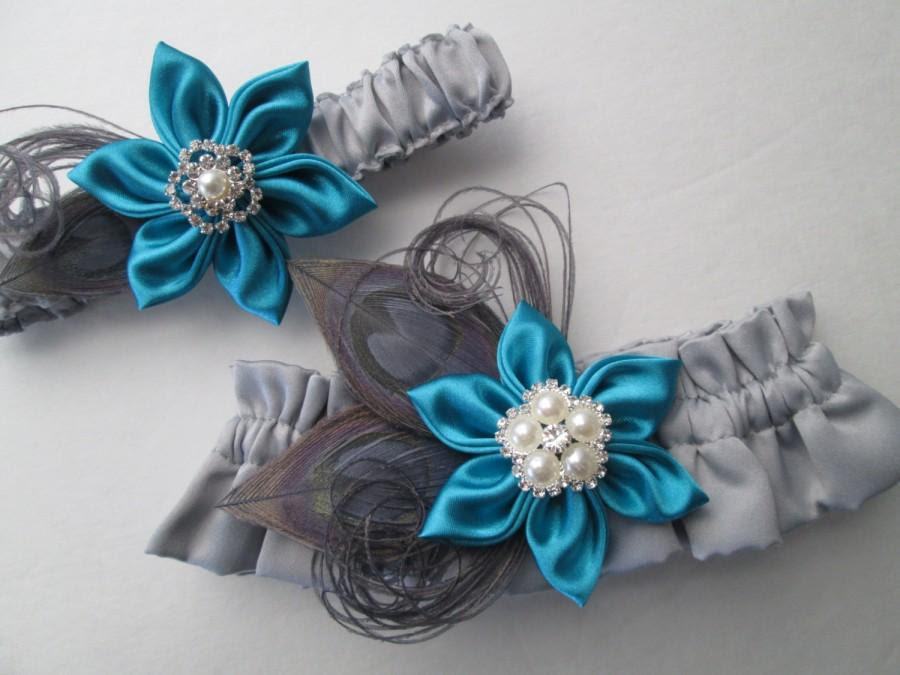 Teal Gray Wedding Garter Set Turquoise Blue Garters Silver