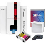 Evolis Primacy Dual Sided ID Card Printer & Complete Supplies Package with Bodno Silver Edition ID Software