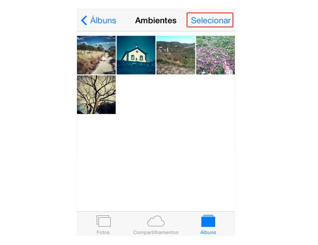 Selecionando as fotos que deseja enviar por e-mail no iOS 7 (Foto: Reprodução/Marvin Costa)