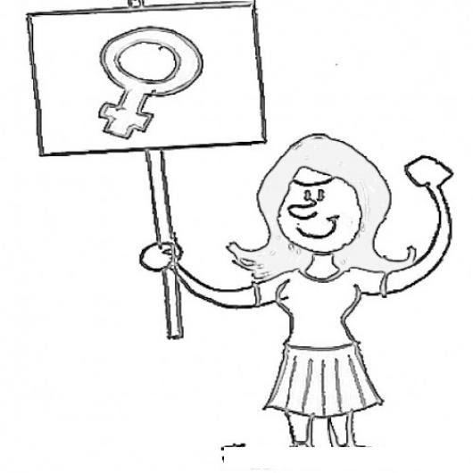 Dibujo Para Colorear A Una Mujer Feminista Porotestando Por Los