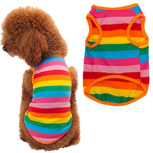 Puppy Shirt, HP95(TM) Summer Rainbow Stripe Pet Shirt Dog Cat Costume Clothing (S)
