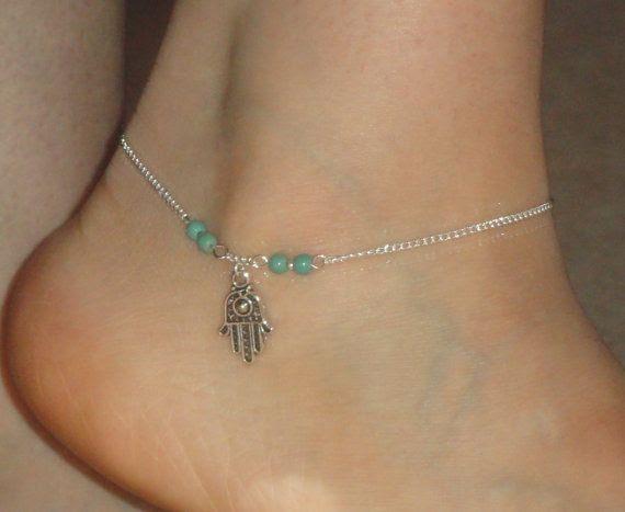 Silver anklet Hamsa hand turquoise ankle bracelet by GemmaJolee, $9.50