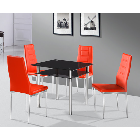 Buy cheap Callisto black glass dining table and 2 Nova chairs from FurnitureInFashion for small