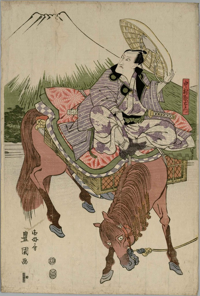 Return from Festival (Matsuri kudari), Nakamura Utaemon on horseback accompanied by a group of five actors (1810) a