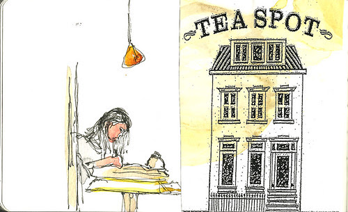 Tea Spot, New York, NY with pasted part of placemat