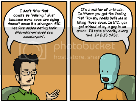 Jackson and Unwinder debate the superior cow death in the webcomics Space-Time Condominium and Hitmen for Destiny