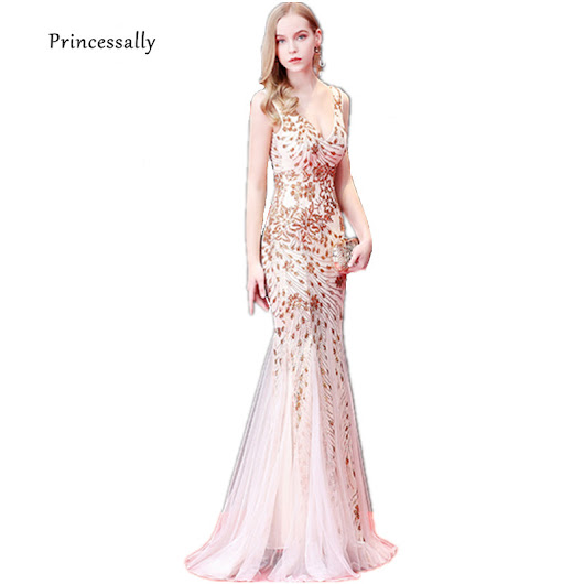 New Gold Sequin Mermaid Evening Dress Long Trumpet Sexy V neck Sleeveless Formal Bride Evening Prom Party Gown Robe De Soriee