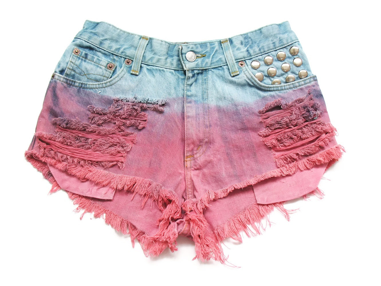 Studded alta cintura shorts jeans S