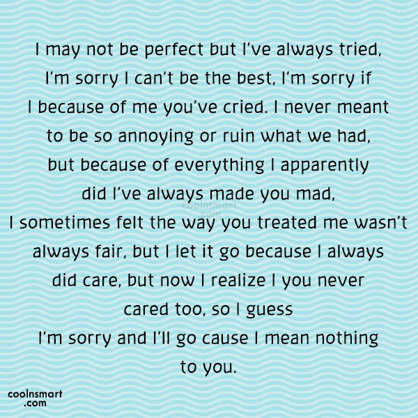 Im Sorry Im Not Perfect Quotes 66232 Loadtve