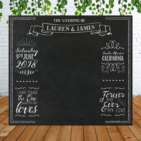 Personalized Chalkboard Wedding Backdrop for Photo Booth