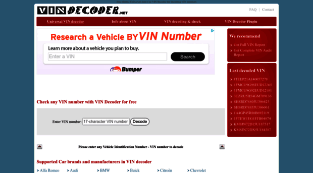 Ford Vin Number Decoder
