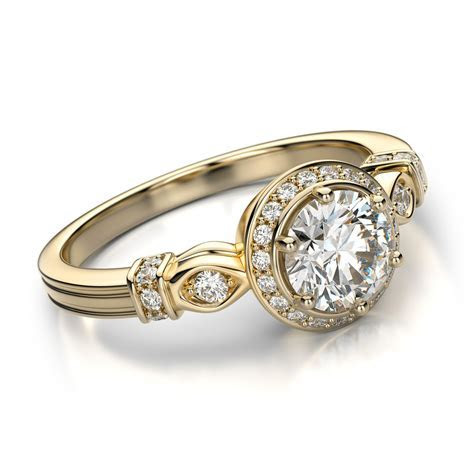 Gold vintage diamond engagement rings for bridal