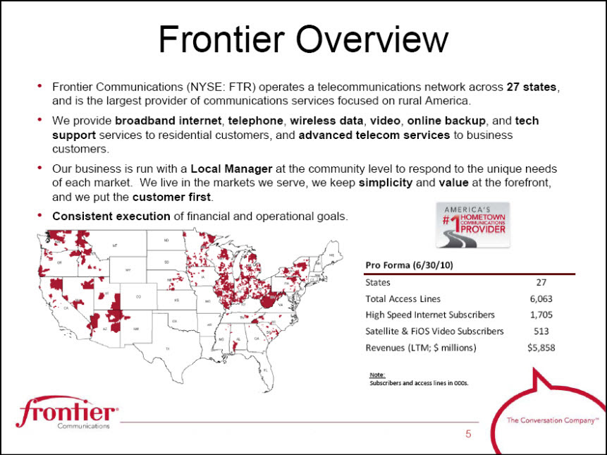 FRONTIER COMMUNICATIONS CORP - FORM 8-K - EX-99.1 ...