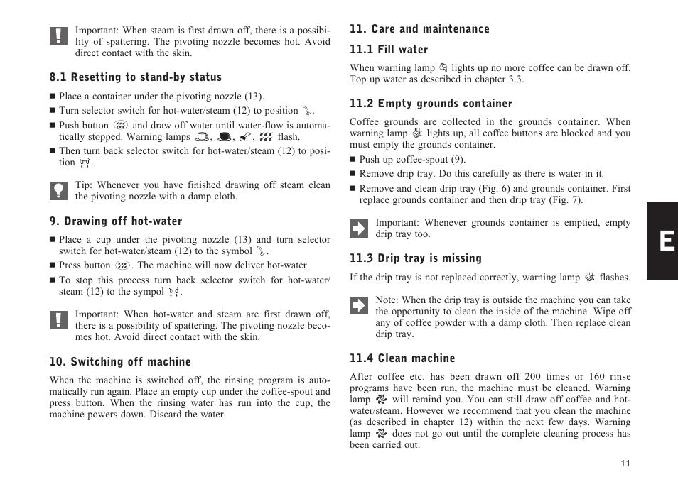 Jura Capresso IMPRESSA E50 User Manual   Page 11 / 17   Also for: IMPRESSA E55