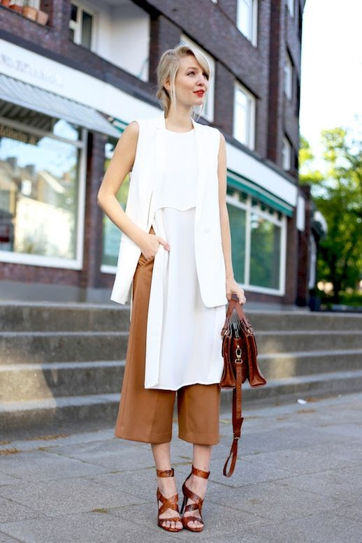 Le Fashion Blog Blogger Style White Sleeveless Blazer Layered Long Top Camel Culottes Leather Satchel Strappy Heeled Sandals Via Ohh Couture