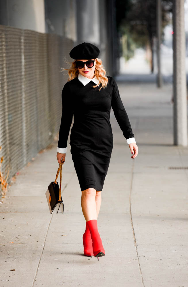 red sock boots black  white dress  the hunter collector