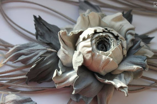 Light Grey Leather Rose Flower Necklace. Multi Strand Gray