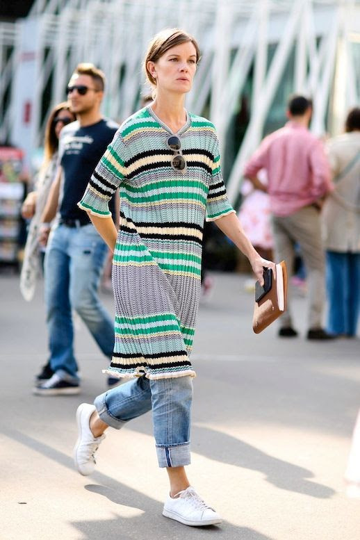 Le Fashion Blog Street Style Mfw Long Ribbed Striped Knit Cuffed Boyfriend Jeans White Sneakers Via Refinery29