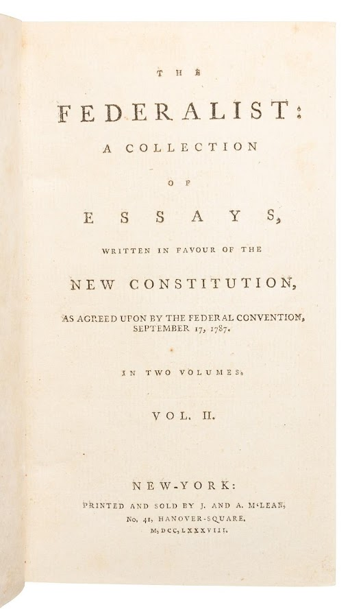 Gavels 'n' Paddles: First edition, The Federalist, $223,500, PBA Galleries