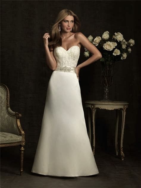 Simple A Line Sweetheart Lace Satin Wedding Dress With