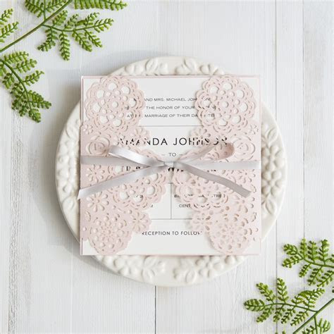 Blush Pink Floral Laser Cut Wedding Invitations With Grey