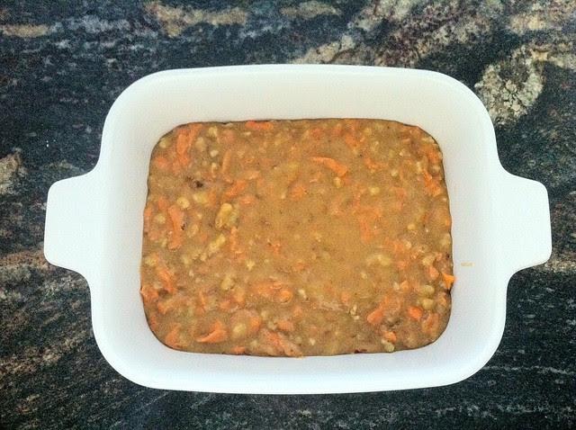 Carrot Cake Batter Added to Baking Pan