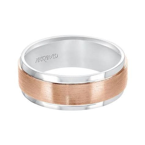 ArtCarved 14K White & Rose Gold Satin Finish Wedding Band