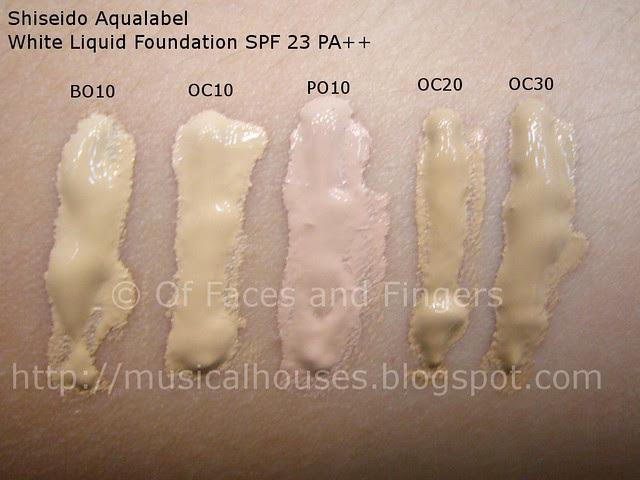 shiseido aqualabel white liquid foundation swatches