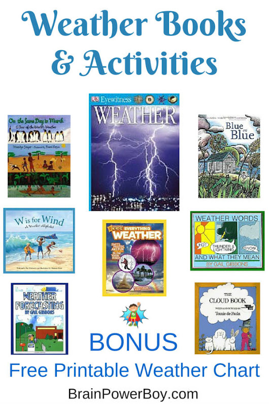 Best Books for Boys: Weather. Free Printable Weather Chart