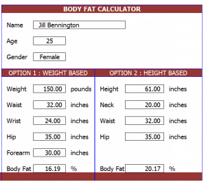 body fat percentage calculator online