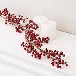 Dark Red Artificial Berry Garland, 60'' long, Red/Burgundy, Craft Supplies