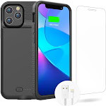 GIN FOXI Battery Case for iPhone 12 Pro Max, Real 7000mAh Ultra-Slim Black by Adesso Power