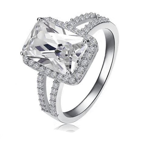 Declan Ice Rectangle Cubic Zirconia Double Band Engagement