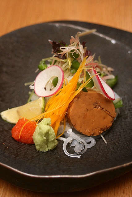 Sashimi: Puffer fish Chunk with Herbal Vegetables and Ankimo (Monkfish Liver)