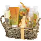 Freida & Joe Mango Pear Spa Gift Set in Woven Antique Basket