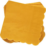100 Pack Mustard Yellow Scalloped Cocktail Napkins 5 x 5 folded, 2 Ply