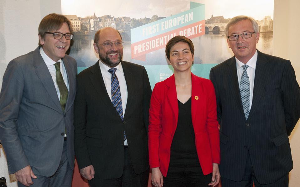 Το πρώτο ντιμπέιτ των υποψηφίων προέδρων της Ευρωπαϊκής Επιτροπής διεξήχθη χθες στο Μάαστριχτ, όπου οι κ. Γκι Φερχόφσταντ, Μάρτιν Σουλτς, Σκα Κέλερ και Ζαν-Κλοντ Γιουνκέρ –απουσίασε ο κ. Αλέξης Τσίπρας– διασταύρωσαν τα ξίφη τους ενώπιον ακροατηρίου 700 νέων. Παρά τις διαφορές, κοινή ήταν η θέση τους στην ανάγκη αντιμετώπισης της ανεργίας, τόνωσης της ανάπτυξης και ενίσχυσης της Ευρώπης.