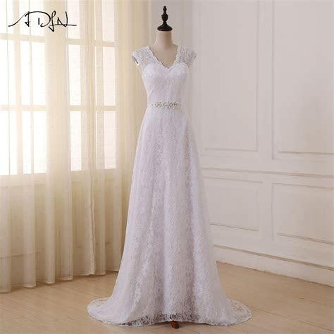 ADLN Cheap Lace Wedding Dresses Elegant Cap Sleeve V neck
