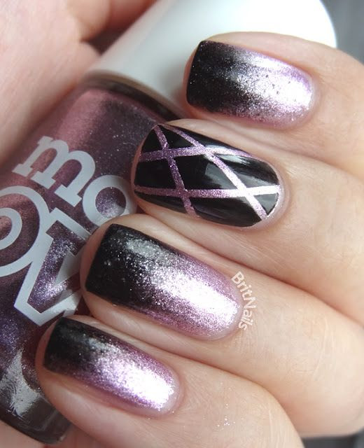 black & purple #glitter #nails #manicure #nailart #naildesign #nailpolish