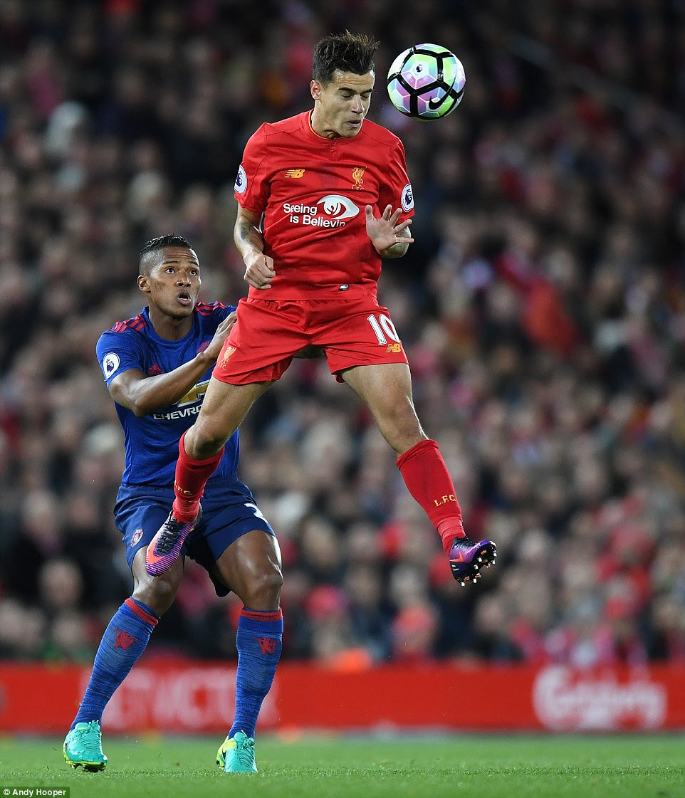 With Adam Lallana and Georginio Wijnaldum both absent, Coutinho was asked to play up against Antonio Valencia
