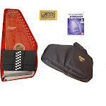 Oscar Schmidt 21 Chord Classic Autoharp, Quilted Maple Top Trans Red, OS21CQTR AC445PACK