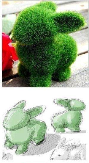artificial Grass Rabbit - soooooo cute. Perfect for Easter