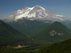 Hazy Mount Rainier